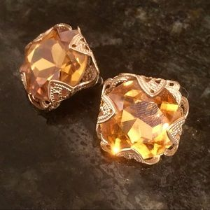 Jewelry - Amber Colored Large Statement Earrings